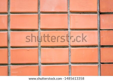Red brick background.  New flat and upper wall.  Close up.  Straight lines and straight angles. #1485613358
