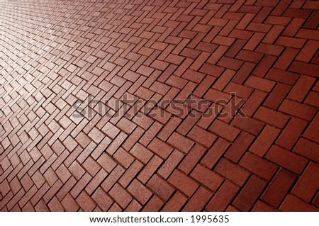 Red brick background on a diagonal slant