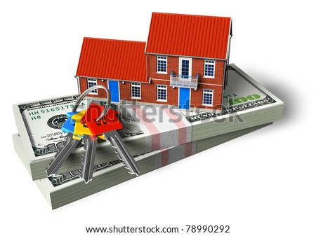 Red brick cottage on stacks of dollars and house keys isolated on white background