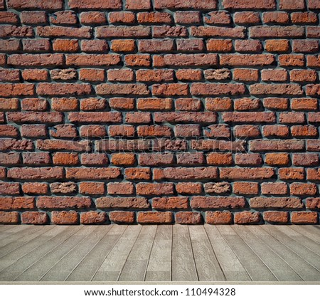 red brick grunge wall and wooden floor