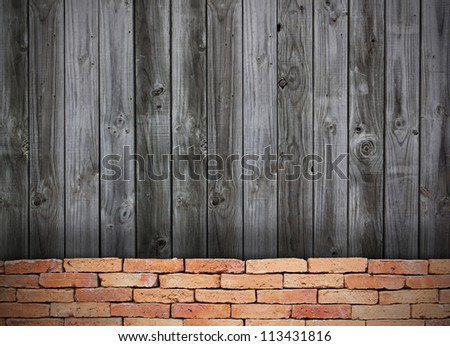 red brick grunge wall and wooden wall
