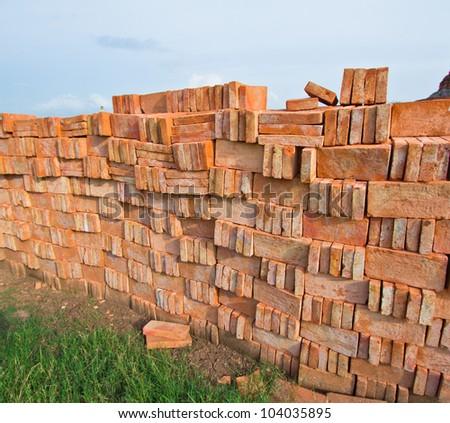 Red Brick Pile Of Bricks. Stock Photo 104035895 : Shutterstock
