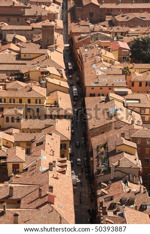 Red brick roofs in Bologna (aerial bird eye view from Asinelli Tower), Italy.