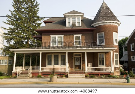Red brick victorian style house