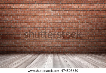 Red brick wall and wooden floor. Copyspace. Rough and ragged textures. Timber. #474503650