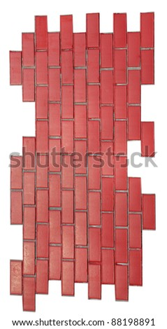 red brick wall isolated on white background