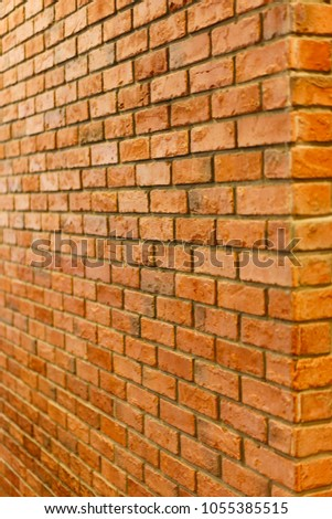 Red Brick Wall Perspective View Of Empty Textured Background Lighting From Back Side