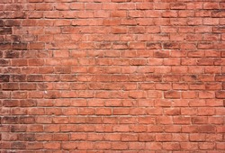 Red brick wall. Texture, background.