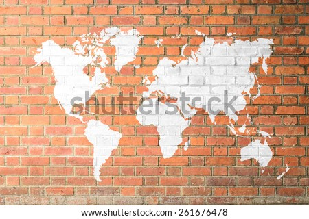Free photos world map wallpaper avopix red brick wall texture background soft tone white color with world map outline elements of gumiabroncs Gallery