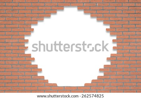 Red brick wall with an opening in the middle for text on a clean white background
