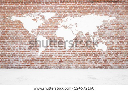 Red Brick wall with earth plaster and white ground