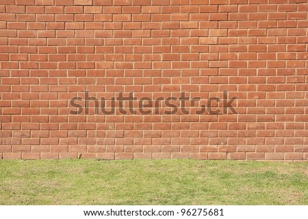Red brick wall with grass close-up.