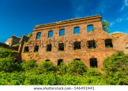Red bricks ruins of the fortress called Oreshek, old fortress in Russia