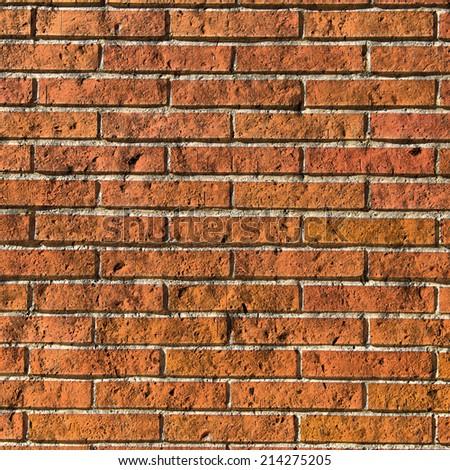 Red bricks textured wall. Background.