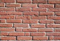 Red bricks wall in sunny day
