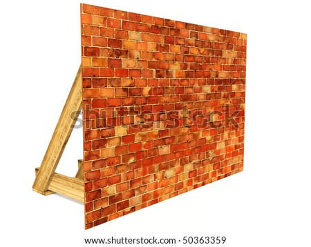 red bricks wall on white background isolated