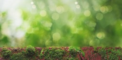 red bricks with green moss on a blurry background with unfocused light