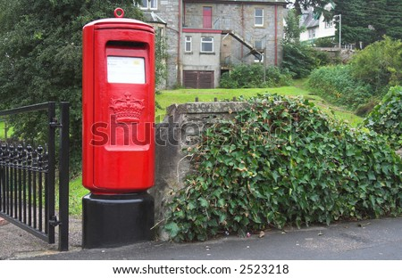 Red british postbox, letterbox, mailbox