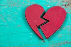 red broken heart,  divorce and separation concept