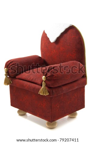 Red brown handmade chair isolated over white