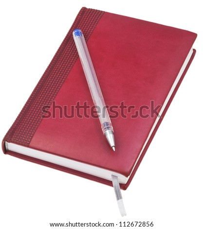 red brown leather note book with old blue pen isolated on white background