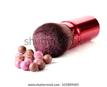 red brush for make-up with powder balls isolated on white