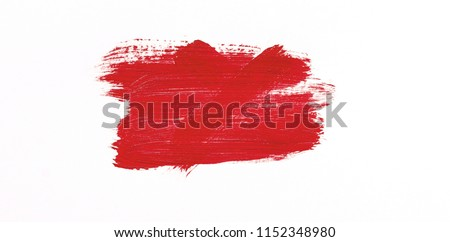 Red brush stroke isolated over white background #1152348980