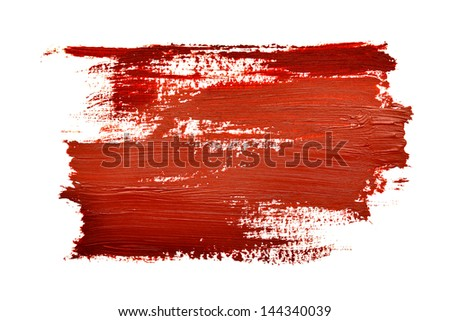Red brush strokes isolated on the white background