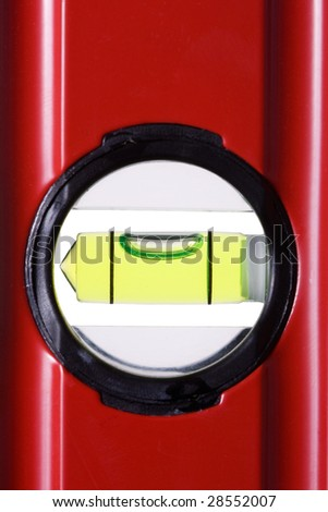 Red bubble spirit level for construction