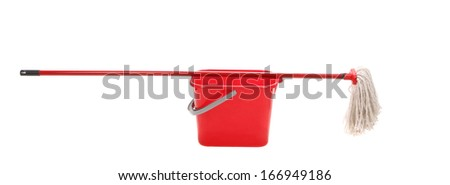 Red bucket with cleaning mop. Isolated on a white background. - stock photo
