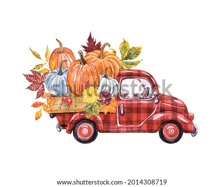 Red buffalo plaid truck with pumpkins. Hand painted watercolor illustration. Vintage cartoon car and fall seasonal vegetables and leaves. Thanksgiving decor. Foto stock ©
