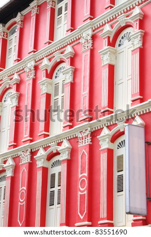 Red building and white windows from singapore china town