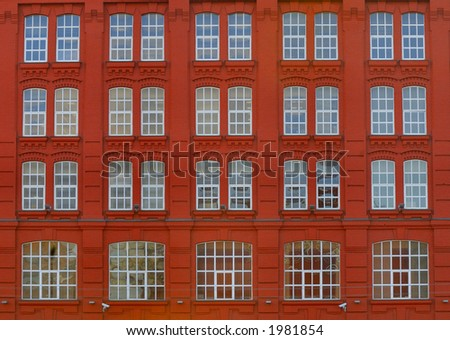Red building. Close up