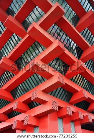 red Building corner - stock photo