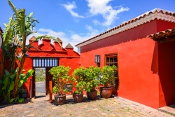 Red buildings of house of Wine La Baranda built in Canary style in El Sauzal, Tenerife, Canary islands, Spain