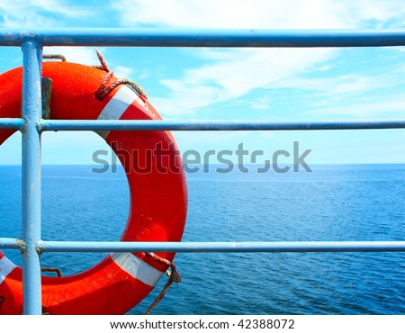 Red buoy on ship