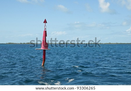red buoy on the sea close from cayo largo in cuba