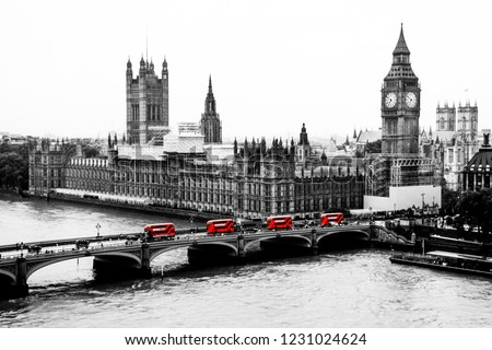 Red buses of London, London from bird eye view, Black and white picture with red buses