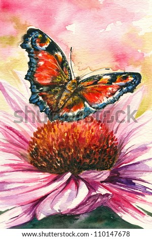 Red butterfly - European Peacock  on purple coneflower (Echinacea purpurea):Picture I have created with watercolors.