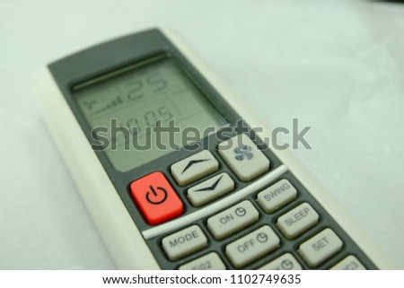 Red button Air conditional Remote control and 25 degree Celsius is best for save energy,Save Energy,Save World,Save money #1102749635
