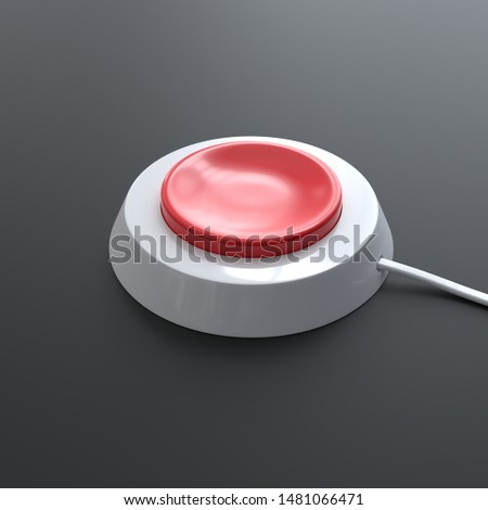 Red button, alert button, nuclear button. Render