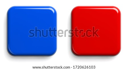 Red Button and Blue Button. Square Shiny Pushbuttons Isolated on White. Clipping path included. 3D illustration. Foto d'archivio ©