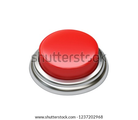 Red button isolated on white background. 3D rendering with clipping path