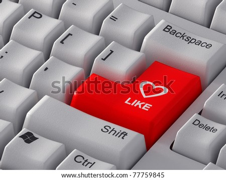 "Red button ""Like"" with a heart."