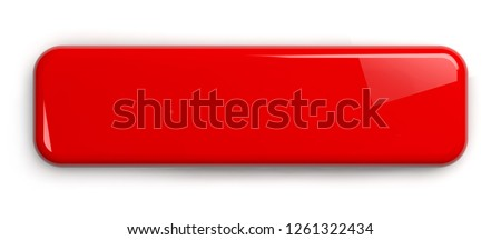 Red Button. Rectangular Shiny Plate Isolated on White. Clipping path included. 3D illustration. Foto d'archivio ©