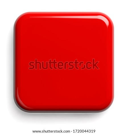 Red Button. Square Shiny Plate Isolated on White. Clipping path included. 3D illustration. Foto d'archivio ©