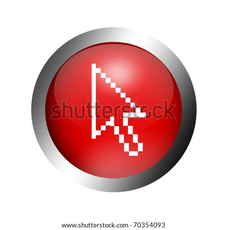 Red button with a cursor arrow inside. Illustration