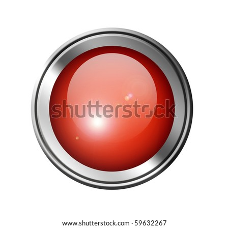 Red button with chrome frame over white background, Empty to insert text or design