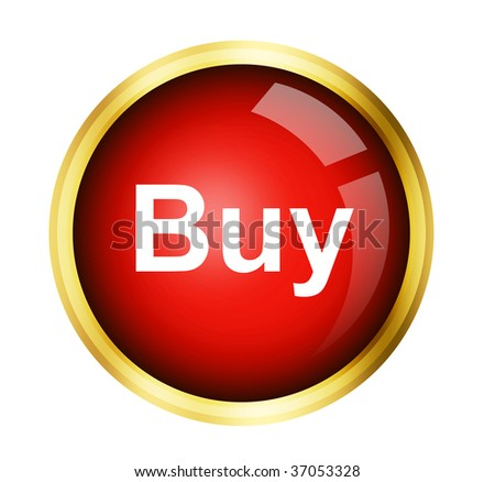 red buy button with golden frame over white background