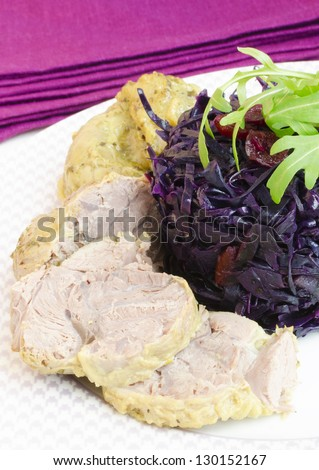 Red Cabbage And Pork Pump Cutlet - stock photo